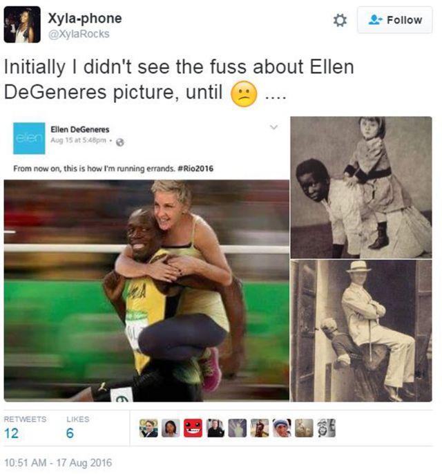 """Xyla-phone tuitea: """"Inicialmente no vi cuál era el lío con la foto de Ellen DeGeneres, hasta que..."""" Está acompañado de dos antiguas fotos, de las épocas de la esclavitud, que muestran a dos personas negras cargando a blancos en sus espaldas."""