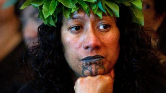 Maori woman with moko
