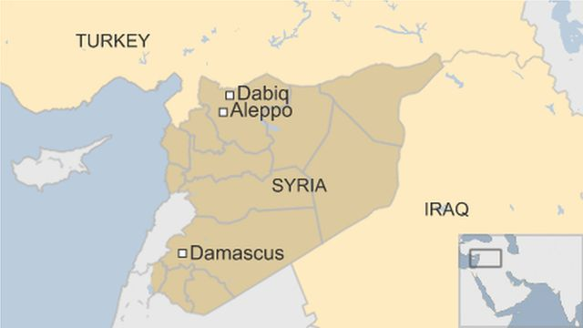 map of Syria showing capital Damascus, Aleppo and Dabiq
