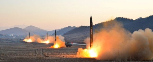 Image from North Korean media of four missile launches on 7 March 2017