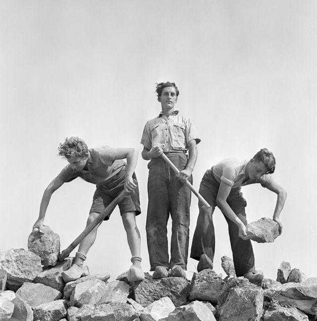 Юноши из Сионистского молодежного движения изучают различные виды и техники строительства. Нидерланды, 1938-1939 гг.