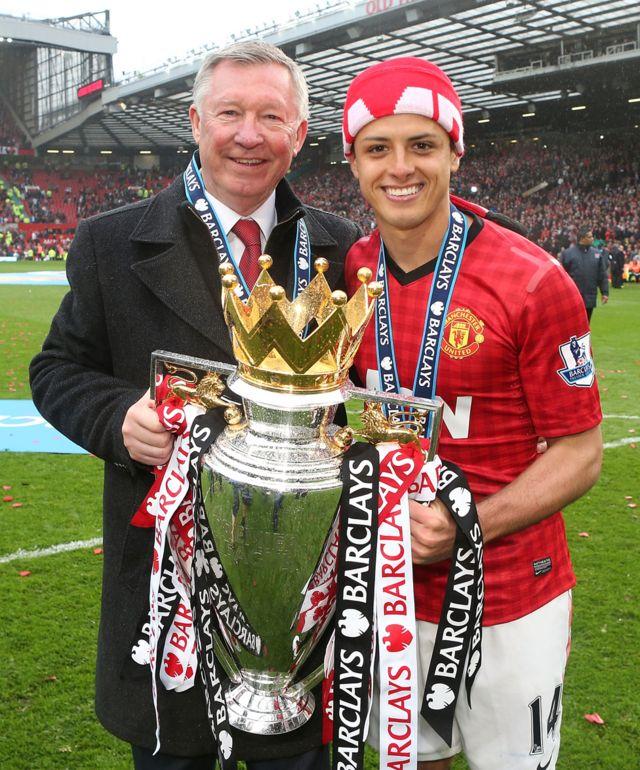 Chicharito con Alex Ferguson