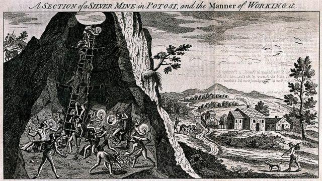 """grabado de """"una sección de una mina de plata en Potosí, y la manera de trabajarla"""". (Wellcome Images)"""