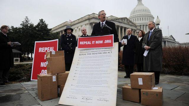 Manifestación a favor de derogar el Obamacare en 2011.