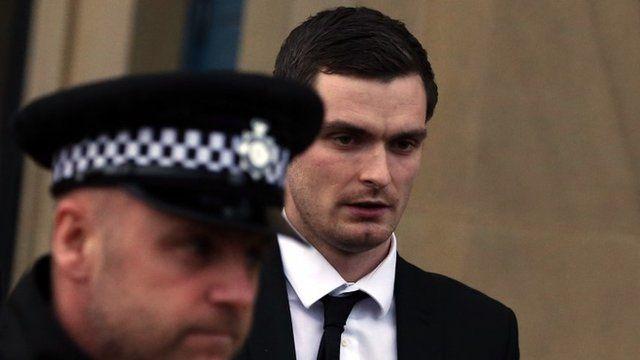 Adam Johnson walking into court