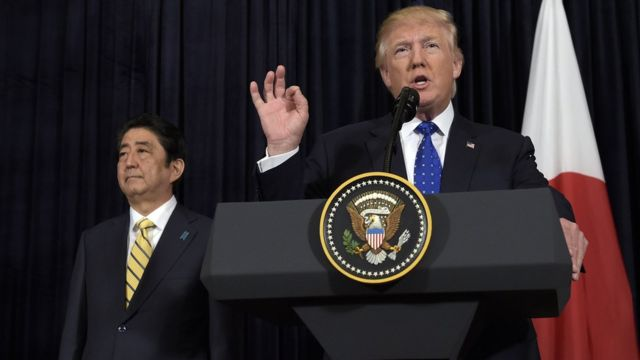Donald Trump və Shinzo Abe, 11 fevral 2017
