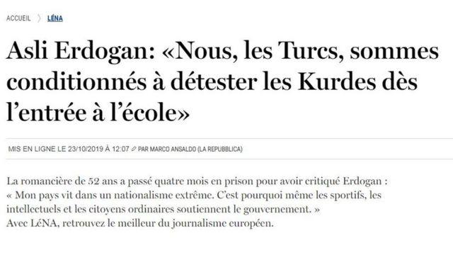 Le Soir gazetesinde yer alan çeviri röportaj