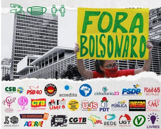 Destaque de cartaz com as organizações que compõem o chamado 'Bloco Democrático'