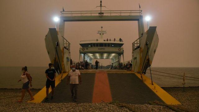Ferry on the island of Evia.