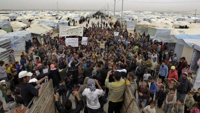 ヨルダンのシリア国境近くにある難民キャンプ(13年2月撮影)