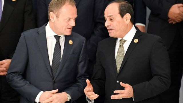 Avrupa Konseyi Başkanı Donald Tusk ve Mısır Devlet Başkanı Abdül Fetih El Sisi