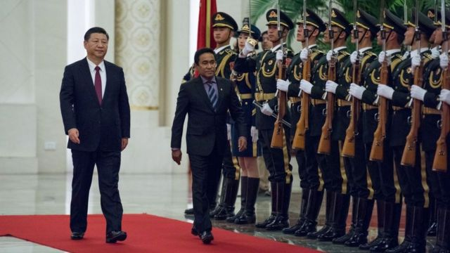 Maldives' former President Abdulla Yameen and China's President Xi Jinping