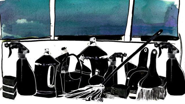 Ilustración que muestra productos de limpieza.
