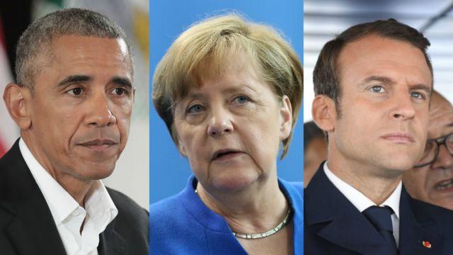 Obama, Merkel y Macron