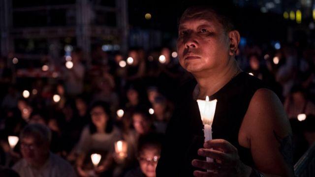 Vigilia en Hong Kong en conmemoración a las víctimas de la Plaza de Tiananmen