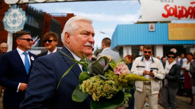 「連帯」を記念する式典でポーランド・グダニスクの造船所を訪れたワレサ氏(2014年8月)