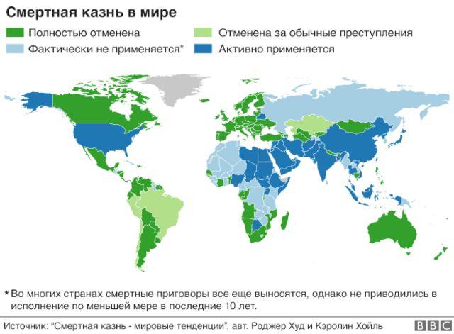 Смертная казнь в мире: карта