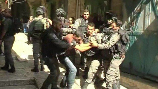 Israeli police with a protester