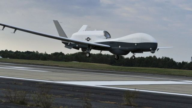 File photo showing a US Navy MQ-4C Triton unmanned aircraft system preparing to land at Naval Air Station Patuxent River, Md., Sept. 18, 2014, after completing a cross-country flight from California. (US Navy photo by Kelly Schindler