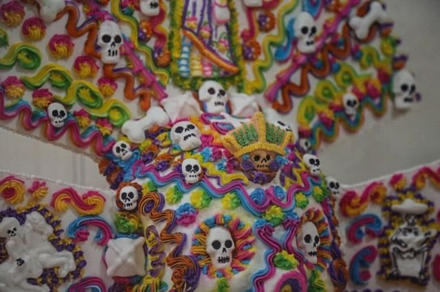 Close-up of a sugar skull exhibited at the Alfenique Fair in Toluca