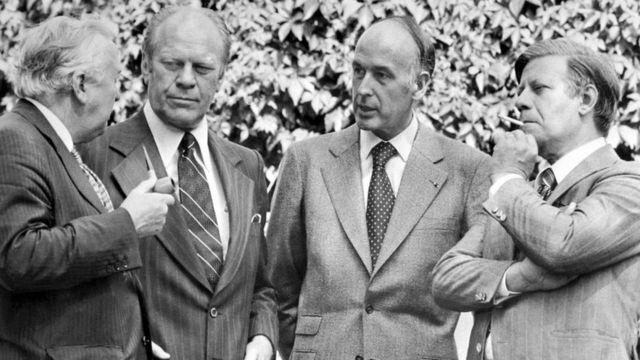 هلموت اشمیت، ژیسکار دستن، جرالد فورد و هارولد ویلسون در آغاز دوره ریاست جمهوری آقای دستن
