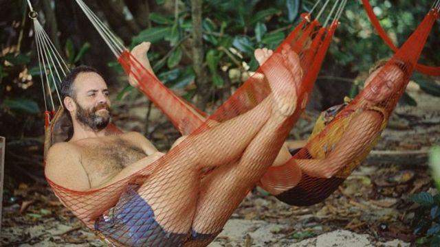 Richard Hatch y Susan Hawk en la primera temporada de Survivor