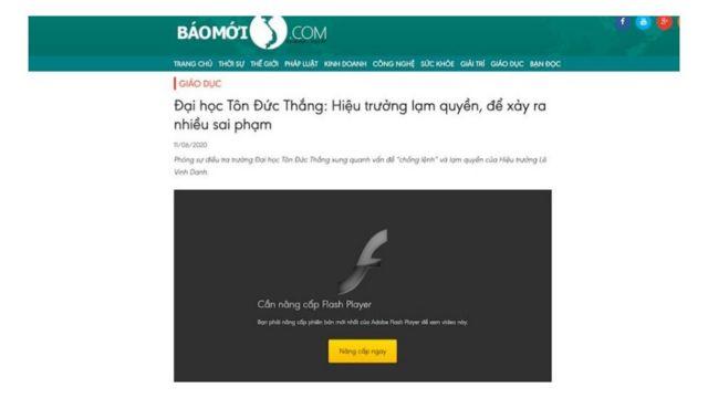 Veloxity lấy ví dụ trang baomoivietnam mà theo họ là trang tin giả, hiện yêu cầu cài đặt Flash Player để từ đó xâm nhập phi pháp