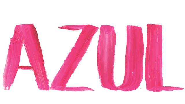 Palavra azul escrita em rosa