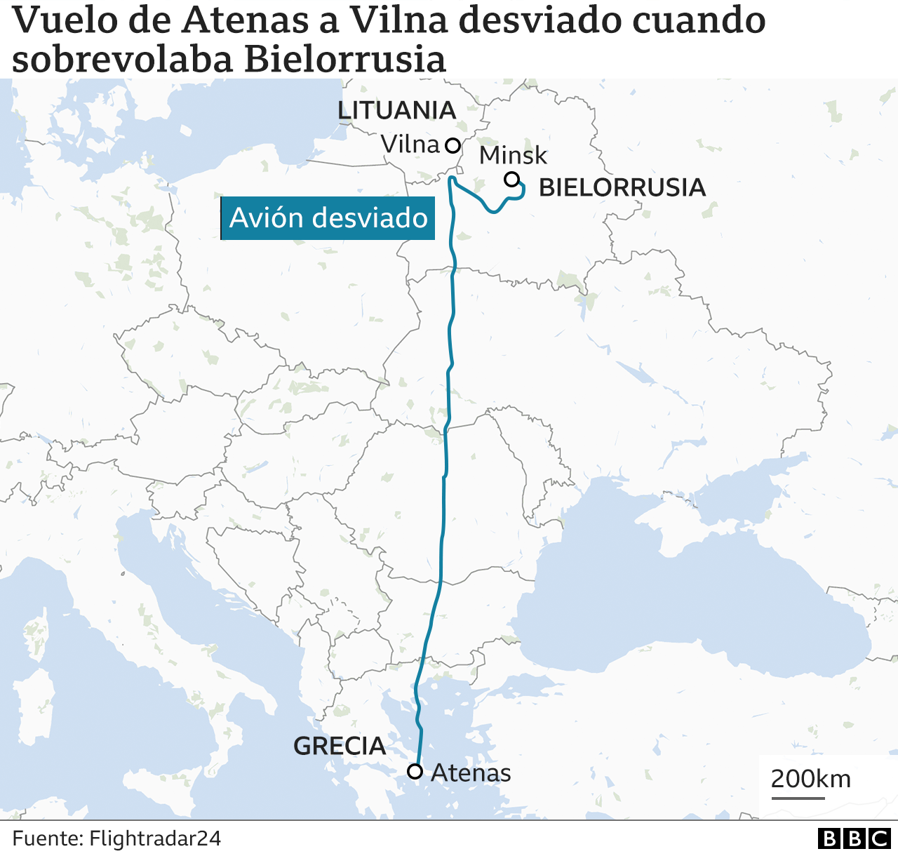 Route of the deviated flight
