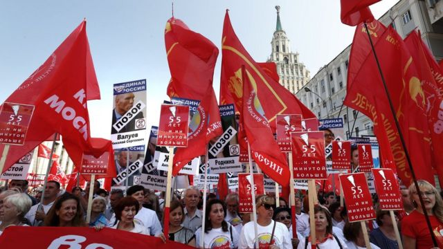 Bazar günü Moskvada keçirilən etiraz aksiyalarından birinin təşkilatçısı Kommunist Partiyasıdır - 2 sentyabr 2018