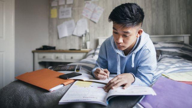طالب يراجع دروسه