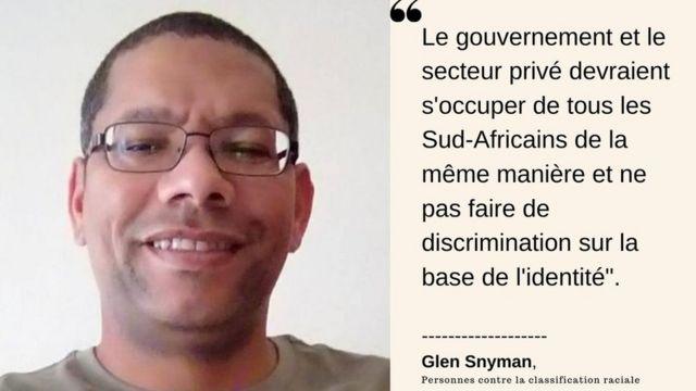 Glen Snyman, Personnes contre la classification raciale