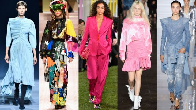 從左到右: 紀梵希Givenchy, 杜嘉班納Dolce + Gabbana, 愛斯卡達Escada, MSGM, 巴曼Balmain