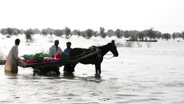 2010 में पाकिस्तान में आई बाढ़ का नज़ारा