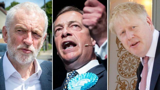 Jeremy Corbyn, Nigel Farage and Boris Johnson