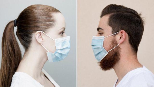 Hombre y mujer con mascarilla