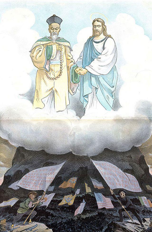 """Cromatografía titulada """"¿Fueron nuestras enseñanzas, entonces, en vano?"""" de 1900, creada por Udo J Keppler (1872-1956). La ilustración muestra a Jesucristo y Confucio mirando la confrontación el Levantamiento de los bóxers."""