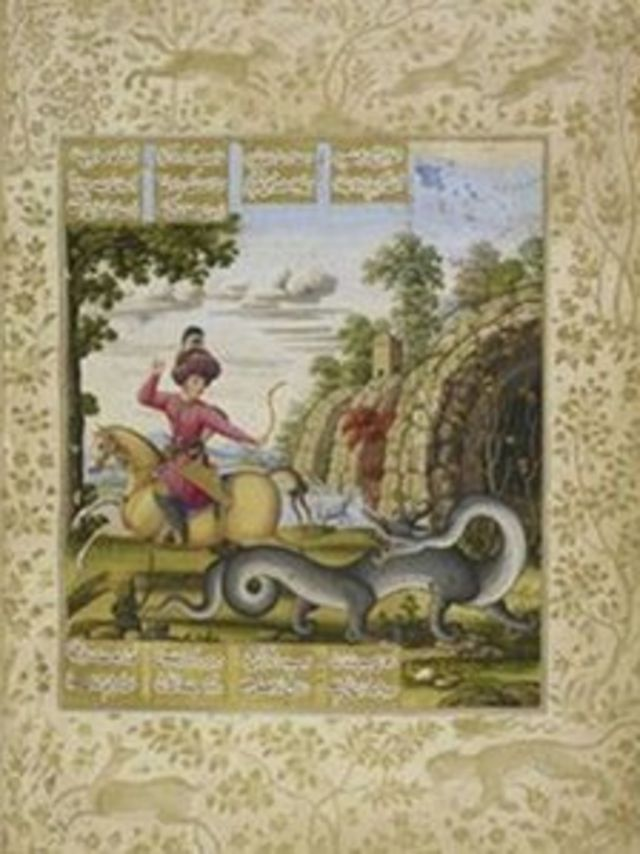 تصویر بهرام گور که شایستگی خود را با کشتن اژدها و بازیافتن گنج از درون غار ثابت میکند. اثری از محمد زمان به تاریخ ۱۰۸۶ هجری (۷۶-۱۶۷۵ میلادی) در نسخۀ مصوّری از خمسۀ نظامی گنجه ای