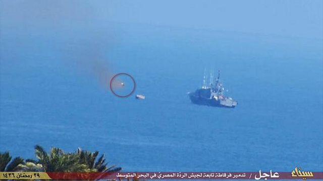 Egypt navy ship 'hit by Sinai militants' missile'