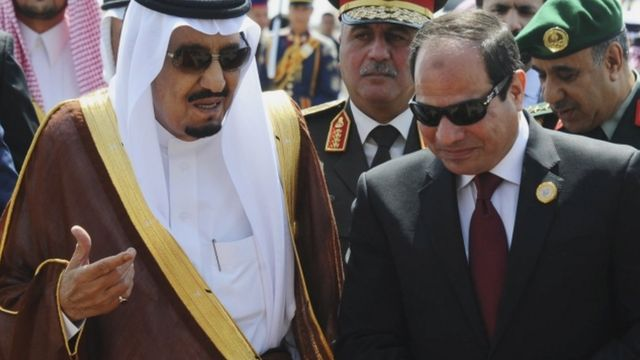 الرئيس المصري عبد الفتاح السيسي والملك السعودي سلمان بن عبد العزيز