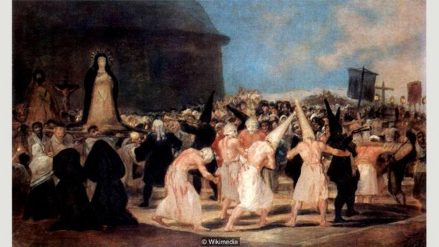 Goya's A Procession of Flagellants documents a more brutal version of the Seville ritual