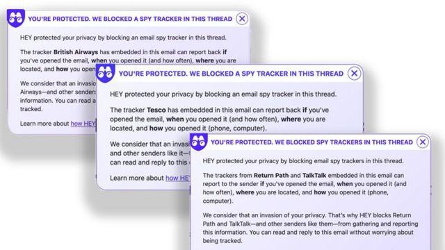 Mensagem do Hey alertando usuário que o email contém o 'pixel espião'