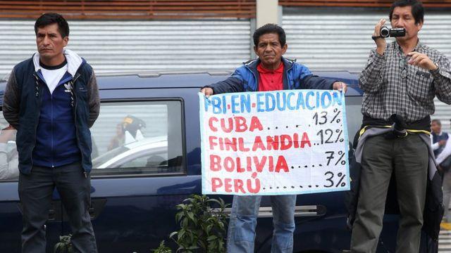 Cartel que compara el gasto en educación de varios países.