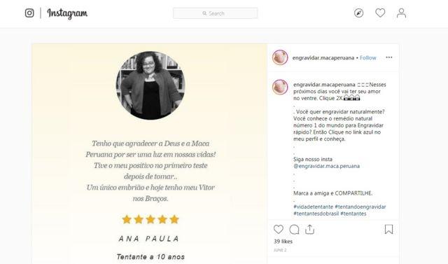 Imagem mostra print do Instagram, exibindo post em que suposta consumidora afirma ter engravidado graças à maca peruana