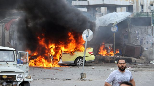 Photo released by Syrian state media showing aftermath of bomb attack in Tartous (23 May 2016)