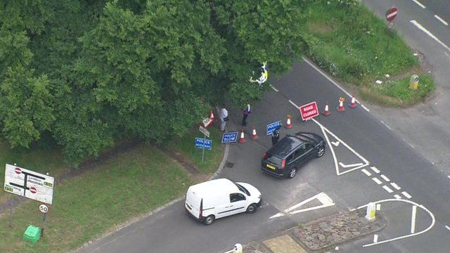 Aerial pictures of the scene of the incident