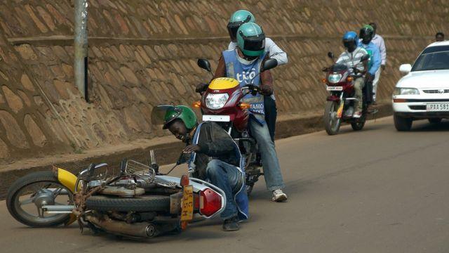 A motorcycle taxi crash in Kigal, Rwanda