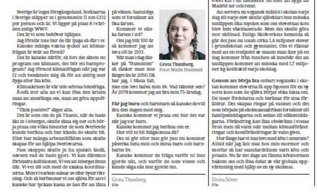 Fac-simile of Greta Thunberg's article in the 31/05/2018 edition of the Svenska Dagbladet