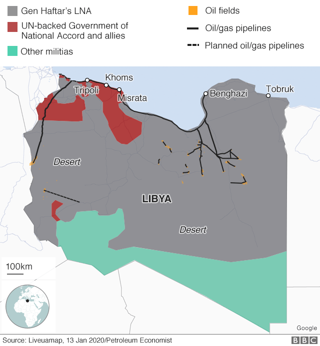 Libya control map showing oilfields and pipelines