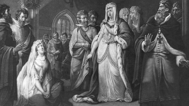 Гравюра: жена Стефана умоляет Матильду пощадить мужа